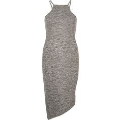River Island Grey bodycon asymmetric dress ($44) ❤ liked on Polyvore featuring dresses, body conscious dress, high neckline dress, ribbed dress, high neck dress and bodycon dress Denim Bodycon Dress, Grey Bodycon Dresses, Tall Dresses, Midi Dresses, High Neckline Dress, High Neck Dress, River Island Dresses, Jersey Dresses, Ribbed Dress