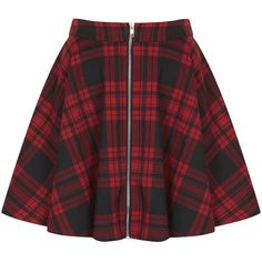 **Red Tartan Zip Front Skater Skirt by Oh My Love (125 BRL) ❤ liked on Polyvore featuring skirts, bottoms, saias, faldas, red, red skater skirt, zipper skirt, circle skirt, tartan skirt and front zip skirt