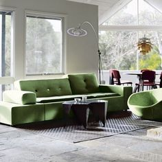 morepicturesthanwords:  An 1980s-built bungalow in Melbourne, Australia. Green Polder sofa by Vitra. Photo by Richard Powers. Via.