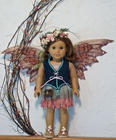 TATTERED FAIRY COSTUME for American Girl dolls or similar 18 inch dolls. Beautifully handcrafted with attention to every detail.