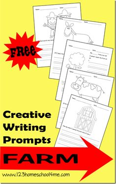 The creative writing prompts contain a black & white illustration your child can color as well as a writing prompt.  These are perfect for preschool, kindergarten, and early elementary aged kids. - See more at: http://www.123homeschool4me.com/2013/08/creative-writing-prompts-farm.html#sthash.nwoIwtT7.dpuf