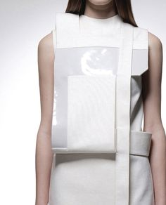 Experimental fashion construction - structured white dress with sharp lines & overlapping layers; fashion details // Heohwan Simulation