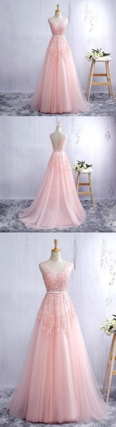 Blush pink prom dress with lace appliqued