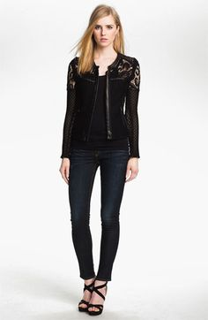 IRO Collarless Lace & Leather Jacket available at #Nordstrom