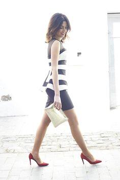 Charmé Closet - Look - Vestido a rayas blanco y negro
