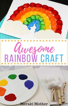 Make this super easy, yet awesome cotton ball rainbow art with your toddler/pre-schooler this weekend! Easy Toddler Crafts, Easy Diy Crafts, Diy Craft Projects, Diy Crafts For Kids, Projects For Kids, Easy Crafts, Art For Kids, Arts And Crafts, Craft Stick Crafts