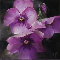 "Daily Paintworks - ""Purple Pansy Study 1"" - Original Fine Art for Sale - © Lori Twiggs"