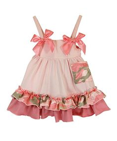 This Pink & Green Camo Pocket A-Line Dress - Infant by Stephan Baby is perfect! #zulilyfinds