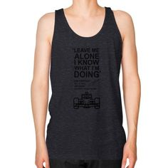 Leave me alone kimi Unisex Fine Jersey Tank (on man)