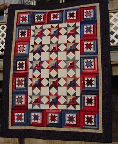 """Log Cabin Stars Quilt by """"Neanie"""" from the quiltingboard.com"""