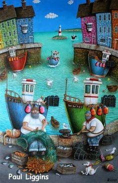 """PAUL LIGGINS   Weymouth Dorset - Inglaterra - Reino Unido      """"Una paleta repleta de sabor a mar"""" (1)      PAUL LIGGINS  -  Acrílico sobre ..."""