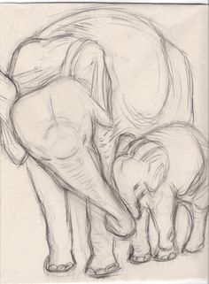 Elefantes por PlaidSheep en DeviantArt - Una naturaleza muerta de un molde de yeso de dos e . - Elefantes por PlaidSheep en DeviantArt – Una naturaleza muerta de un elenco de yeso de dos elefant - Art Drawings Sketches Simple, Pencil Art Drawings, Cute Drawings, Drawing Ideas, Drawings Of Dogs, Simple Animal Drawings, Pencil Sketches Of Animals, Creative Pencil Drawings, Animal Sketches Easy
