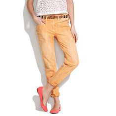 The Boyjean at Madewell, 28'' inseam, 11 1/2'' leg opening, 100% cotton, was 135 now ON SALE $89.99. colors: faded sunset (pictured) or pink oyster