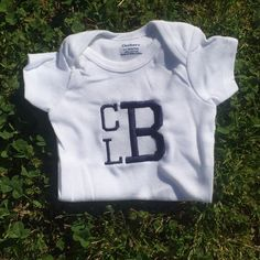 A personal favorite from my Etsy shop https://www.etsy.com/listing/288737083/monogrammed-onesie
