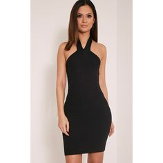 Chessie Black Halterneck Bandage Bodycon Dress-10 (£18) ❤ liked on Polyvore featuring dresses, black, sexy dresses, sexy party dresses, sexy bodycon dresses, sexy short dresses and halter top