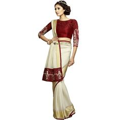 Buy Artistic Ivory Colour Patch Border Work Designer Saree-301 by undefined, on Paytm, Price: Rs.3424?utm_medium=pintrest