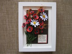 Quilled bouquet of poppies, daisies and wheat (on a 15x20 cm frame)