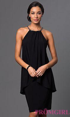Knee-Length Popover Sleeveless Dress at PromGirl.com