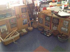 "Gorgeous set-up in Mrs. Myers' Kindergarten, for Nature Inspired Art ("",)"