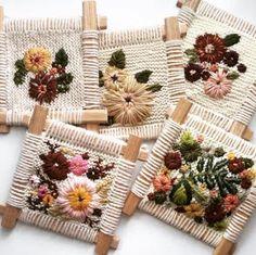 Brown Paper Bag — Embroidered knittings by Fleur Lyon Más Weaving Projects, Weaving Art, Weaving Patterns, Tapestry Weaving, Loom Weaving, Ribbon Embroidery, Cross Stitch Embroidery, Embroidery Patterns, Diy Broderie