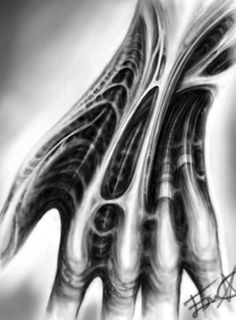 Biomechanical  digital  hand  drawing