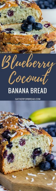 Blueberry Coconut Banana Bread - Recipe for homemade quick bread with blueberries, sweet coconut and banana makes an easy loaf. Fruit and coconut combination is perfect!