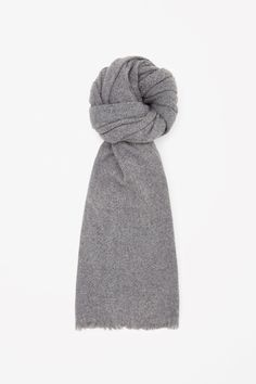 COS image 3 of Oversized wool scarf in Grey