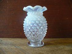 Vintage Hobnail Blue Opalescent Vase Ruffle Edge Vase | Etsy Handmade Shop, Etsy Handmade, Vintage Love, Vintage Decor, Antique Shops, Vintage Shops, Craft Supplies, Candle Holders, Etsy Seller