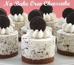 Oreo Cookies and Cream No-Bake Cheesecake ~ An adult dessert gets some kid lov& with an Oreo crush. You can find this recipe for Oreo Cookies and Cream No-Bake Cheesecake at Bakers Royale. Cookies And Cream Cheesecake, No Bake Oreo Cheesecake, Cheesecake Bites, Royal Cheesecake Recipe, Chocolate Cheesecake, Birthday Cheesecake, Wedding Cheesecake, Sopapilla Cheesecake, Mini Cheesecake Recipes