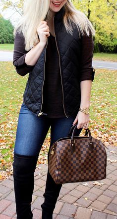 fall fashion, vest, louis vuitton speedy, over the knee boots