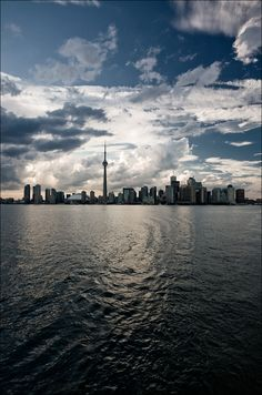 Downtown Toronto from a ferry. You can take the ferry to Centre Island for a pleasant afternoon side trip. Oh The Places You'll Go, Great Places, Beautiful Places, Places To Visit, Vacation Places, Places To Travel, Downtown Toronto, Toronto Skyline, Toronto Canada