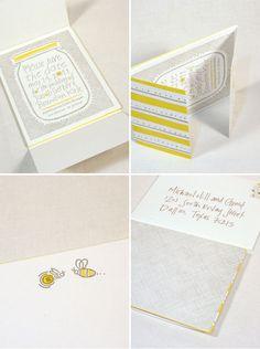 Yellow + Gray Letterpress Wedding Suite - Mason jars and fireflies