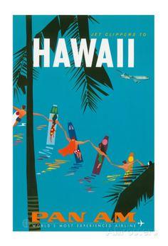 オールポスターズの Aaron Fine「Jet Clippers to Hawaii - Pan American Airlines (PAA) - Hawaiian Surfers Linking Hands」ジクレープリント