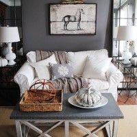 Idee per le pareti della camera da letto - Camera con pareti grigie e ...