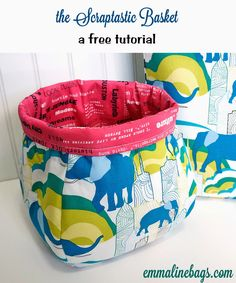 The Scraptastic Basket - A free sewing tutorial for threads and fabric scraps