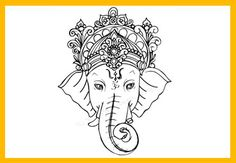 Hindu God Ganesha Drawing Sketch for Kids. Drawings of Ganesha for Ganesh Chaturthi. Lord Ganesha the mythological God from Hinduism.