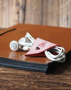 Leather Cord Holder - Coated Wax #Red  by ES Corner  www.es-corner.com