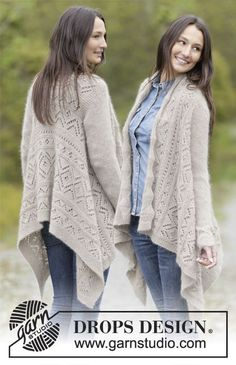 Falling Leaves knitted lace jacket, free pattern from Garnstudio