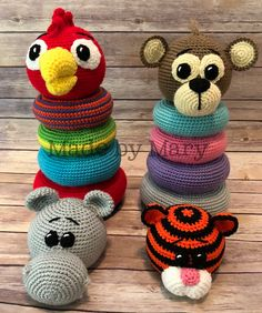 Ravelry: Ring Stacker Toy - Zoo Animals 2 pattern by Mary Smith