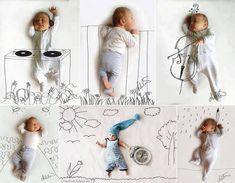 Baby auf weißem Leintuch fotografieren