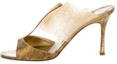 Manolo Blahnik Metallic Eel Skin Slide Sandals