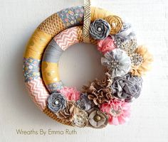 Double Wrapped Fabric Wreath by Wreaths By Emma Ruth.