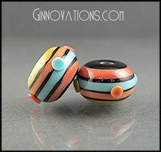 Ginnovations lampwork, Stripes pair (2 beads)