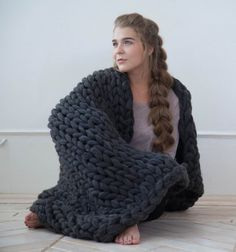 Chunky knitted blanket throw Giant afghan by NataHomeandFashion