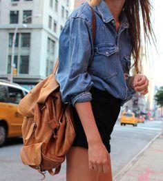 denim shirt + black shorts.