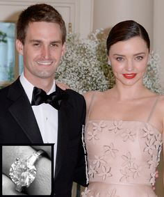 The Most Breathtaking Celebrity Engagement Rings Ever - Miranda Kerr and Evan Spiegel from InStyle.com