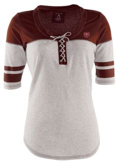 Missouri State Bears Antigua Womens Grey/Maroon Blast Lace-Up T-Shirt