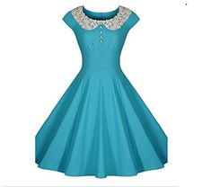 online shopping for Shengdilu Women's Vintage Lace Swing Formal Party Skaters Gown Dress from top store. See new offer for Shengdilu Women's Vintage Lace Swing Formal Party Skaters Gown Dress Love Vintage, Vintage Mode, 50s Vintage, Blue Cocktail Dress, Womens Cocktail Dresses, Audrey Hepburn, Marine Uniform, Calf Length Dress, Vintage Style Dresses
