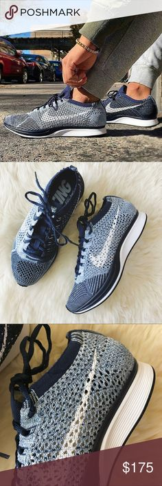Nike Blue Tint Flyknit Racer Sneakers •Blue Tint Flyknit Racer sneakers. Deadstock.  •Unisex Shoe, Mens 4 = Women's 5.5  •New in box (no lid).  •NO TRADES/HOLDS/PAYPAL/MERC/VINTED/NONSENSE. Nike Shoes Sneakers