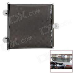 Automatic Telescopic Shutter Roller Car Window Curtain Sunshade - Black + White (40 x 60cm)